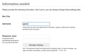 "Screen grab of the WordPress 5 minute install with ""admin"" set by default as the username"
